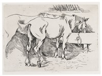 HORSES IN A STABLE (C. 1), 1890