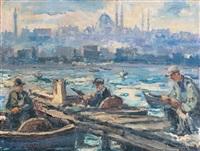 karaköy'de balikçilar by ibrahim safi
