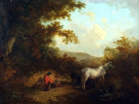 travelers resting in a country path by edward robert smythe