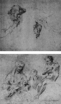 sheet of studies with a man in profile leaning on a cane, a reclining female nude and a design for a key hole by françois (le moine) le moyne