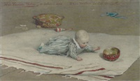 the artist's son, henry baudouin, playing on a rug by willem de famars testas