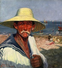 portrait of man at the lido, venice by franz kienmayer