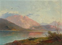 evening light over the gmundner see by adolf obermüllner