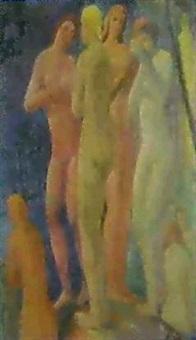 badende weibliche akte am waldbach by alois bilek