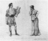 standing couple in roman garb, he with lyre by william thomas smedley