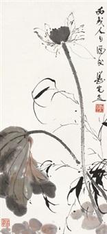 荷竹图 镜片 设色纸本 by deng fen