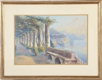 amalfi coast with roman ruins by giovanni battista