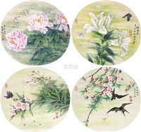 花鸟 (4 works) by jiang guoliang