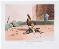 cock fighting (set of 6) by newton (smith limbird) fielding