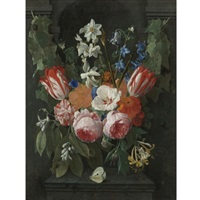 still life of a swag of flowers in front of a stone niche by nicolaes van veerendael