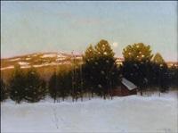 talvi-ilta kuunvalossa - vinterkvälli i månsken by hjalmar (johansson) linde