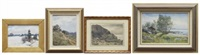 landskapsvyer, 4 stycken, varav 3 signerade k simonsson (set of 4) by konrad simonsson
