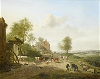 peasants grazing their cattle in an open river landscape by henri-joseph antonissen