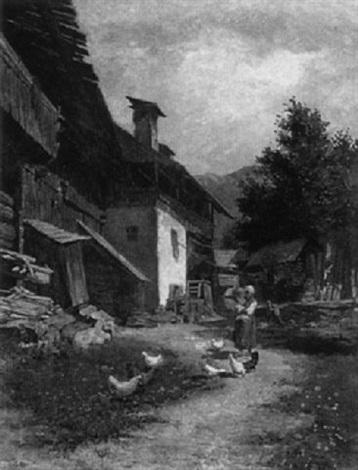 bauernhof und scheune im vordergrund die bäuerin mit kind und hühnern by anton hans karlinsky