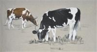 deux vaches marron et noire by taly-brice