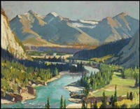 view of the mountains with a river in the valley by richard jack