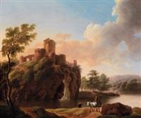 flusslandschaft mit reisendem vor einer burg bei sonnenaufgang (+ flusslandschaft mit schäfern bei sonnenuntergang; pair) by dorothea maria wagner