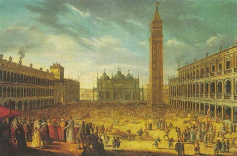 venice the piazza san marco with a carnival by louis de caullery