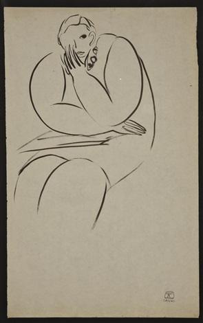 femme assise avec collier et bras croisés by sanyu