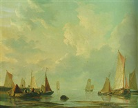 moored rivercraft at a harbour entrance by frans jacobus van den blyk