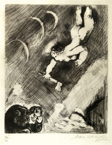 mercury and the wood cutter pl 54 from the fables of la fontaine vol2 by marc chagall