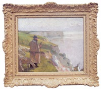 berger et ses moutons au lever du jour face à la mer by jean-pierre laurens