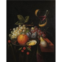 still life with fruit and wine glass by s. muller