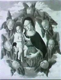 the madonna and child surrounded by a mandorla of      seraphim by fiorenzo di lorenzo