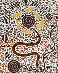 snake and witchetty grub by tjakamarra michael nelson