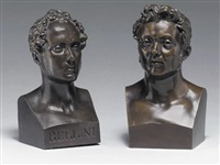 bust of bellini and bust of a man by antoine laurent dantan