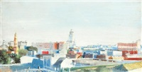 city view (2 works) by yuri (georgiy) ivanovich pimenov