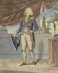 portrait of h.r.h. george, prince of wales, later george iv ( + portrait of h.r.h. caroline, princess of wales, lrgr; 2 works) by robert (lowry) laurie