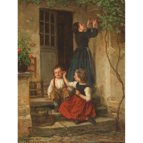 chasing a bee off brothers cheek by théophile emmanuel duverger