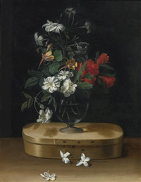 vase of flowers on a chipboard box by jean-michel picart