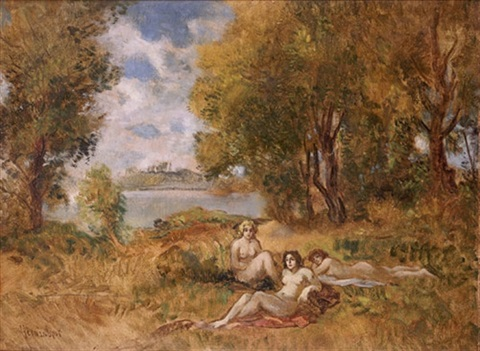 nudes in a landscape by lipót herman