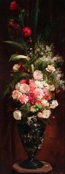 bodegón con flores sobre repisa de madera by ricardo martí aguiló