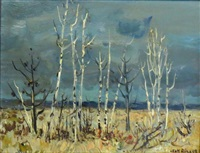 paysage d'hiver (sanguinet, landes) by jean rigaud