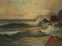 sunset, riviera coast by franz waldegg