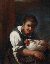 contadina con gallina by arcangelo resani