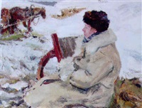 woman seated in the snow by leonid vaichlia