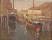 gloucester boats at evening by frederick carl smith