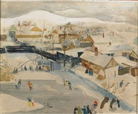skaters on a frozen pond by endre vadász