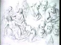 studienblatt mit figuren zu einer beweinung christi by johannes (den duyts) van mildert
