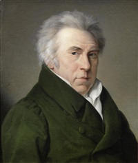 portrait of a gentleman, bust-length, in a green coat by sophie lemire