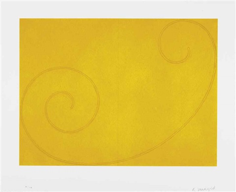 yellow curled figure by robert mangold