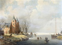 figures on a frozen river by a. de groote