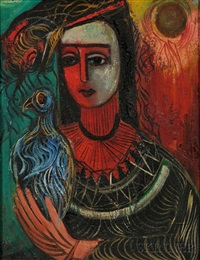 lady with pet bird by nahum tschacbasov