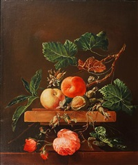 still life with peaches, roses and hazelnuts on a stone plinth by frederick victor bailey