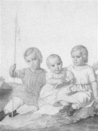 drei kinder in einer landschaft by gustav adolph hennig