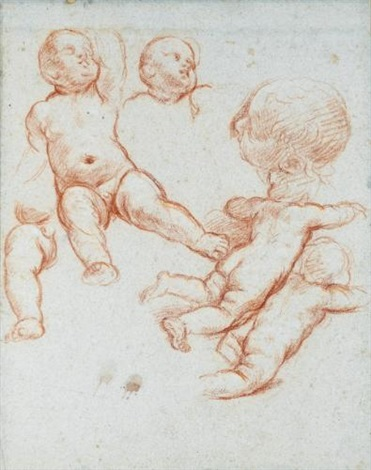 a sheet of studies with putti one with a separate study for his head and left leg and a head seen in profile to the left by carlo maratta
